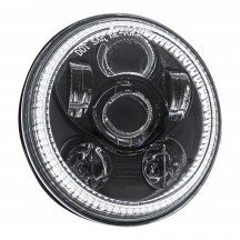 "5.75"" Round Halo LED Sealed Beam Headlight for Harley Bikes - Black"