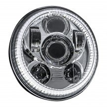 "5.75"" Round Halo LED Sealed Beam Headlight for Harley Bikes - Chrome"