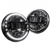 "7"" Round HDL1552 JEEP HALO DRL DOT Approved Headlight Kit - BLACK"