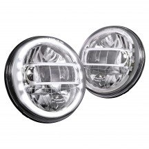 "7"" Round HDL1552 JEEP HALO DRL DOT Approved Headlight Kit - CHROME"