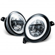 "9"" Round HALO DRL LED Headlight Set - BLACK"