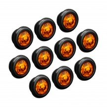 "10pc 3/4"" 1 LED Round Clearance Marker Light - AMBER"