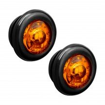 "2pc 3/4"" 1 LED Round Clearance Marker Light - AMBER"