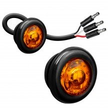 """2pc 3/4"""" 1 LED Round Clearance Marker Light with TBT Function - AMBER"""