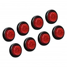 "8pc 2"" 10-LED Round Clearance Side Marker - Red"