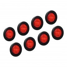 "8pc 2.5"" 13-LED Round Clearance Side Marker - Red"
