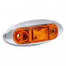 "8pc 2.5"" 1 LED Oval Clearance Marker Light w/ Chrome Bezel - AMBER"