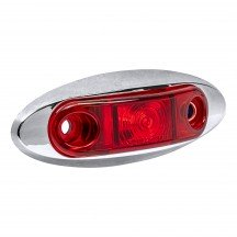 "2.5"" 1 LED Oval Clearance Marker Light w/ Chrome Bezel - RED"
