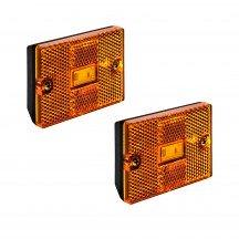"2pc 3"" x 2"" Rectangular Stud-Mount Reflector Clearance Marker Light - AMBER"