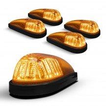 5pc Teardrop Style Amber Cab Light Kit - Black Base