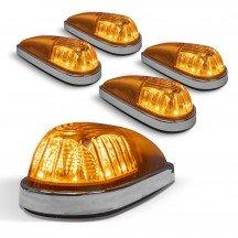 5pc Teardrop Style Amber Cab Light Kit - Chrome Base