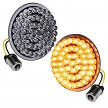 "2pc 2"" Round 1156 Black PCB Harley Davidson Motorcycle AMBER Rear Turn Signal Light Panel"
