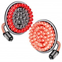 "2pc 2"" Round 1157 Black PCB Harley Davidson Motorcycle RED HALO + RED 100% Rear TBT Light Panel"