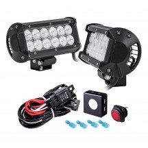 "2pc LAMPHUS CRUIZER CRLB12 6.5"" 36W Off Road LED Light Bar + Wiring Harness Kit"
