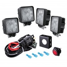 """4.5"""" 27W LED Square Work Light + 8ft Wiring Harness 5pc Kit"""