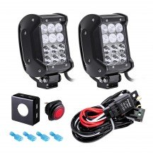 """CRUIZER Dual-Stacked 4"""" 36W LED Light Bar + 8ft Wiring Harness 3pc Kit"""
