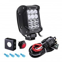 """CRUIZER Dual-Stacked 4"""" 36W LED Light Bar + 8ft Wiring Harness Kit"""