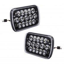 "2pc 7"" x 5"" 45W LED Sealed Beam Headlight - Black Housing"