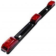 """15"""" 9-LED Trailer Identification Tail Light Bar w/ Black Stainless Steel Bracket - Red"""