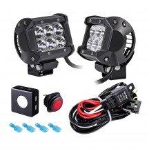 "CRUIZER 4"" 18W LED Light Bar + 8ft Wiring Harness 3pc Kit"