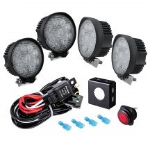 "4.5"" 27W LED Round Work Light + 8ft Wiring Harness 5pc Kit"