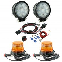 "mini-AURA 4"" 4W Amber Beacon Light + Round 27W Spot Work Light 5pc Kit"