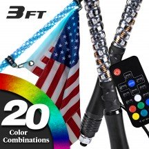 2pc Spiral RGB Color 165-LED Remote Control LED Whip w/ Flag - 3ft