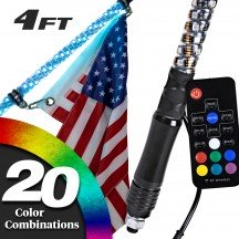 Spiral RGB Color 255-LED Remote Control LED Whip w/ Flag - 4ft