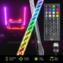2pc Smart IC RF Control RGB LED Whip - 5FT