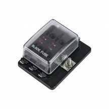 6-Way 100A LED Indicator ATC/ATO Blade Fuse Box w/ Cover