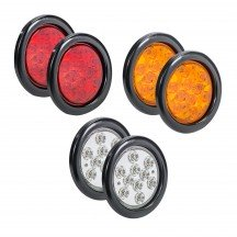"4"" 10-LED Round Amber + 4"" 10-LED Round Red + 4"" 10-LED Round White Tail Light 6pc Combo"