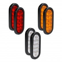 "6"" 10-LED Oval Amber + 6"" 10-LED Oval Red + 6"" 10-LED Oval White Tail Light 6pc Combo"