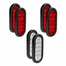"6"" 10-LED Oval Red + 6"" 10-LED Oval White Tail Light 6pc Combo"