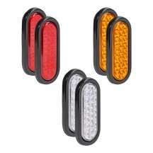 "6"" 24-LED Oval Amber + 6"" 24-LED Oval Red + 6"" 24-LED Oval White Tail Light 6pc Combo"
