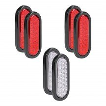 "6"" 24-LED Oval Red + 6"" 24-LED Oval White Tail Light 6pc Combo"