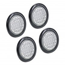 "4pc 4"" 24-LED Round Tail Light - White"