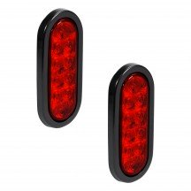 "2pc 6"" 10-LED Oval Tail Light - Red"