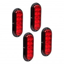 "4pc 6"" 10-LED Oval Surface Mount Tail Light - Red"