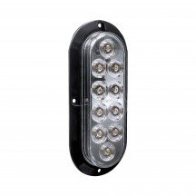 "6"" 10-LED Oval Surface Mount Tail Light - White"