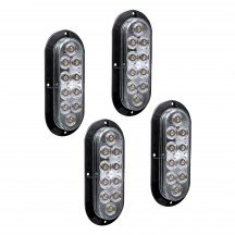 "4pc 6"" 10-LED Oval Surface Mount Tail Light - White"