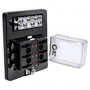 6-Way 100A LED Indicator ATC/ATO Blade Fuse Box w/ 6-Way M4 Ground Terminal Block