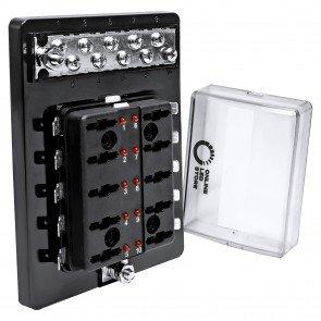 10-Way 100A LED Indicator ATC/ATO Blade Fuse Box w/ 10-Way M4 Ground Terminal Block