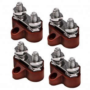 4pc M8 Dual Terminal Stud w/ Removable Connecting Plate - RED