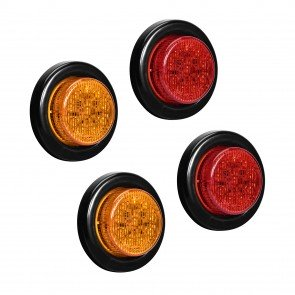 """2"""" 10-LED Round Amber + 2"""" 10-LED Round Red Clearance Side Marker Light 4pc Combo"""