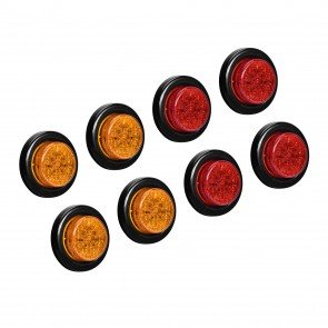 """2"""" 10-LED Round Amber + 2"""" 10-LED Round Red Clearance Side Marker Light 8pc Combo"""