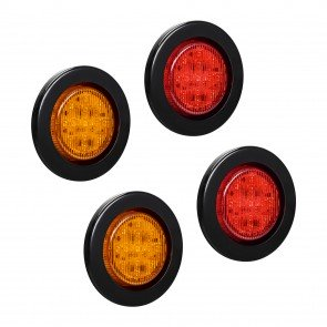 """2.5"""" 13-LED Round Amber + 2.5"""" 13-LED Round Red Clearance Side Marker Light 4pc Combo"""