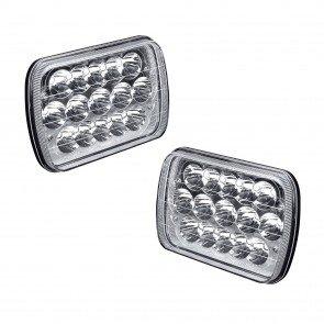 "2pc OLS 5x7"" (7x6) 45W 15-LED Sealed Beam Headlight Assembly w/Chrome Housing"