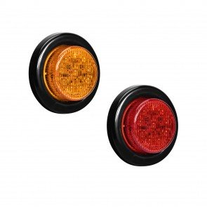 """2"""" 10-LED Round Amber + 2"""" 10-LED Round Red Clearance Side Marker Light 2pc Combo"""