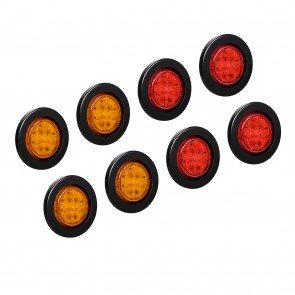 """2.5"""" 13-LED Round Amber + 2.5"""" 13-LED Round Red Clearance Side Marker Light 8pc Combo"""