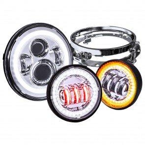 """7"""" Round HALO Harley Davidson Motorcycle Headlight Kit + 4.5"""" HALO Fog Light Kit + Mounting Bracket - CHROME"""